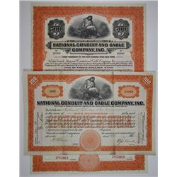 National Conduit and Cable Co., Inc., I/U Stock Certificate & Specimen Bond Pair