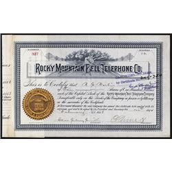 Rocky Mountain Bell Telephone Co. 1888 I/C Stock Certificate.