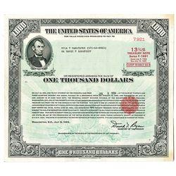 U.S. $1000 Treasury Note, 1984, 13 3/4% Series F-1991 Registered Bond.