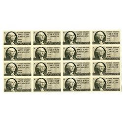 "United States  ""One Unit Gasoline"" Coupon, 1974 Uncut Sheet of 16 Remainders, Specimens or Proofs."