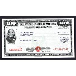 Series E Savings Bond, 1945, $100 I/U Bond