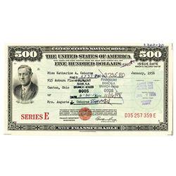 U.S. Savings Bond, 1956, $500 I/C Series E Bond.