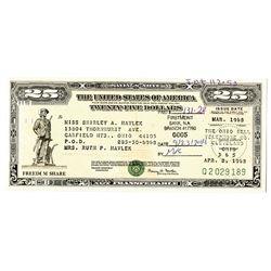 "U.S. Savings Bond, 1968, ""Freedom Share"" Savings Note."