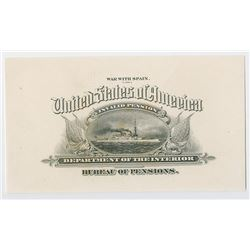 U.S.A., War with Spain - Invalid Pension - Department of the Interior, ca. 1898-1900 Proof Bond or D