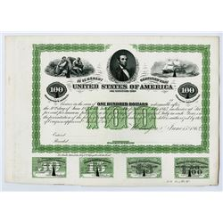 Washington, D.C.,U.S.A. $100, 6% Loan Under Act of March 3rd, 1863, Bond Detector Plate Proof from B