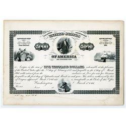 Washington, D.C.,U.S.A. $5000, 5% Loan Under Act of March 3rd, 1864, 10-40 Registered Bond, Bond Det