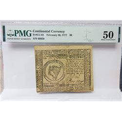 Continental Currency, February 26, 1777, $8 Fr#CC-61 Issued Banknote.