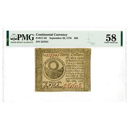 Continental Currency. September 26 1778. Issued Note.