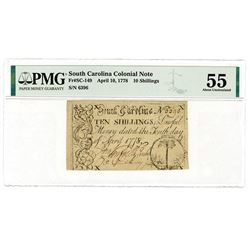 South Carolina Colonial Note. April 10, 1778. Issued Note.