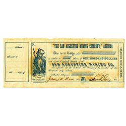 San Augustine Mining Co., 1860's Confederate Officer signed Stock Certificate.