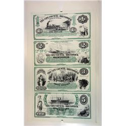 Brunswick GA City Council, 1860's (Reprinted by ABNC in 1995) Uncut Sheet Obsolete $1-2-3-5 1995 ABN