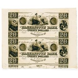 Hagerstown Bank. 18xx (ca.1840s). Uncut Remainder Sheet Obsolete Banknote Pair.