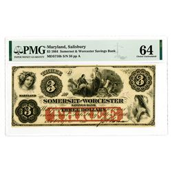 Somerset and Worcester Savings Bank, 1862 Issued Obsolete Banknote.