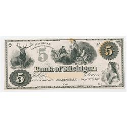 Bank of Michigan, 1862, Proof Note with part of text cut out.
