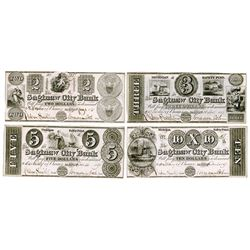 Saginaw City Bank, 1837-38 Obsolete Banknote Quartet.
