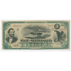 State of Mississippi, 1870 Issued Obsolete Banknote.