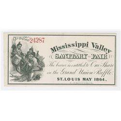 Mississippi Valley Sanitary Fair, 1864 Lottery-Raffle Ticket.
