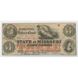 "Missouri Defence Bond Used as Advertising Note for ""Bee Line Route"" ca. 1860-70's."