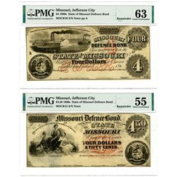 Missouri Defense Bond, 1860's Remainder Obsolete Banknote Pair.