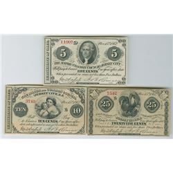 Mayor and Common Council of Jersey City, N.J. Obsolete Scrip Note Trio, ca. 1862.