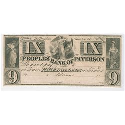 Peoples Bank of Paterson, 18xx (ca.1830-40's) Remainder Obsolete Banknote.