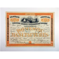 Custom House, Collectors' Office 1868,\ I/C Certificate, Fine-VF condition
