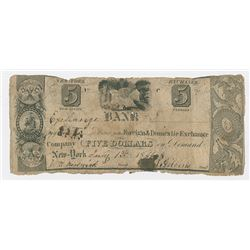 Foreign & Domestic Exchange Co., 1844, $5 Post Note Obsolete Banknote.