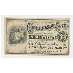 Tiffany Bro's Commission Scrip Issued by E.D. Holman, ND (ca.1870's) 25 Cents Scrip Note.