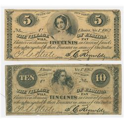 Village of Elmira, 1862 Obsolete Scrip Note Pair.