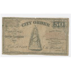 City Order - City of Cleveland, 1862, 50 Cents Issued Obsolete Scrip Note.