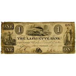 Lafayette Bank of Cincinnati, 1843 Obsolete Banknote.