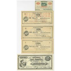 Ohio Merchant Scrip Quintet of 1862-1917 Notes.