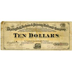 Springfield, Jackson & Pomeroy Railroad Co., 1878 $10 Scrip Note.