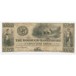 Borough of Harrisburg, 1843 Issued Scrip Note.