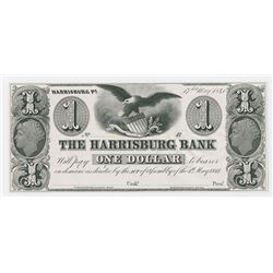 Harrisburg Bank, 1841 Proof Banknote.