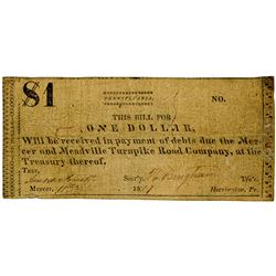 Mercer and Meadville Turnpike Road Co., 1819 Issued Obsolete Scrip Note.
