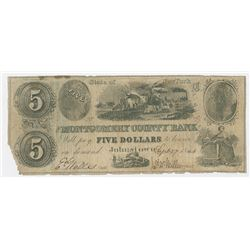 Montgomery County Bank, 1844, Issued Obsolete Banknote.