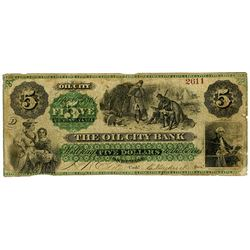 Oil City Bank 1864 Issued Obsolete Banknote.