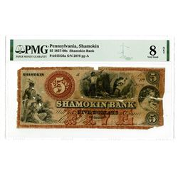Shamokin, PA - Shamokin Bank, $5, ca.1857-60's, PA-615-G6a, Hoober 361-8, Issued Obsolete Banknote