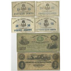 South Carolina 1860's Sextet of Obsolete Notes from 3 Issuers.