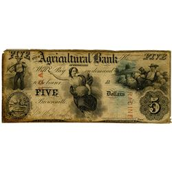 Agricultural Bank of Tennessee, 1855 Issued Banknote.