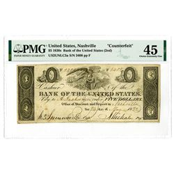 """Bank of the United States (2nd), 1832 """"Nashville"""" Branch Issue """"Counterfeit Obsolete."""