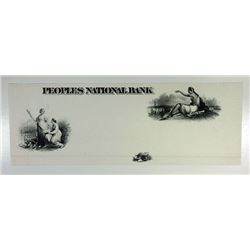 Peoples National Bank ca.1860's PROOF Vignettes & Bank Title on India Paper XF