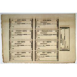 Facility, Brattleboro, ND (ca.1840-60) Merchant Scrip Sheet of 9 Notes.