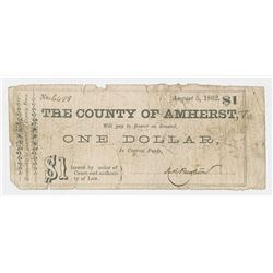 County of Amherst, 1862 Issued Scrip Note.
