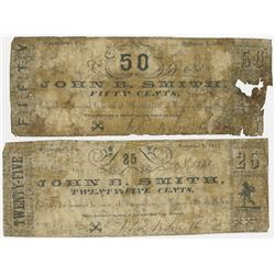 John B. Smith. 1861. Pair of Obsolete Currency Scrip Notes.
