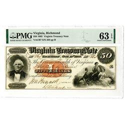 Virginia Treasury Note, 1862 $50 Obsolete Banknote.