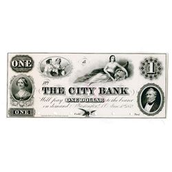City Bank, 1852 Proof $1 Obsolete Banknote.