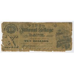 Sadler's Business College, First National College Bank, 1872 Issued College Currency Obsolete Note.