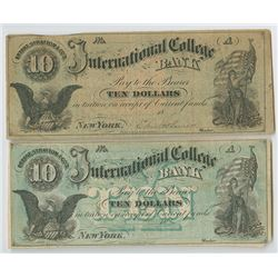 Bryant & Stratton's International College Bank, 1860's, College Currency Duo.